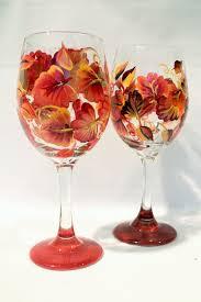 autumn leaf wine gl hand painted on 40 00
