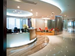 awesome modern office interior design with longue desk combined captivating applying round glass room divider completed chic front desk office interior design ideas
