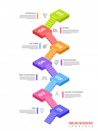3d Timeline Infographics Layout With Seven 7 Steps Vector