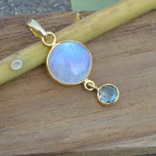 natural blue fire rainbow moonstone pendant solid ster
