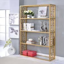 acme furniture blanrio clear gold gl metal bookshelf