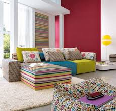 Stylish Sofa Sets For Living Room Funky Colorful Striped Sofa Sets In Stylish Urban Living Room