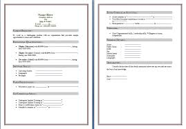 Resume Standard Resume Template Microsoft Word