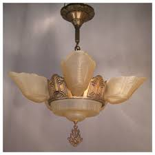 a3647 art deco bronze chandelier with shades