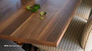 wide planked walnut formica laminate tabletop