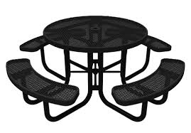 elite series round picnic table thermoplastic expanded metal