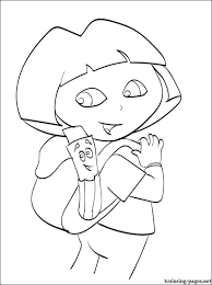 Small Picture Dora with Backpack and Map Coloring pages