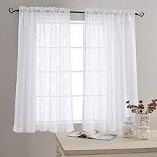 Amazon.com: Linen Textured Sheer Window Curtains for Bedroom 63 ...