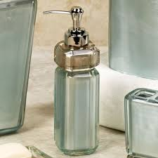 blue glass bathroom accessories. Barron Lotion Soap Dispenser Pale Blue Glass Bathroom Accessories