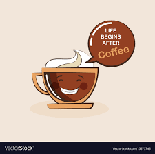 coffee emoji cup with funny e vector image