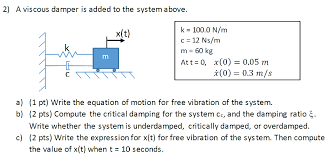 Viscous Damping Solved A Viscous Damper Is Added To The System Above Wri