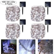 100 White Outdoor Led Solar Fairy Lights Gluckluz Solar String Lights Copper Wire Fairy Light Decoration Lamp Waterproof Lighting 100 Led For Outdoor Ramadan Indoor Patio Garden Weddings