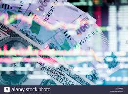 The Russian Ruble With American Dollar On The Background Of