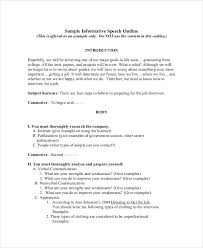 outline templates in pdf premium templates informative speech outline