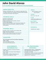 Format Of A Simple Resume With 1 Page Resume Example Examples Of