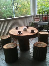 Creative Idea:Living Room Furniture Idea With Tree Trunk Coffee Table Near  White Sofa And