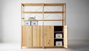 image of wood storage cabinets with doors and shelves
