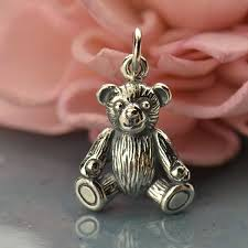 a1567 sv chrm sterling silver teddy bear charm animal charm 3d