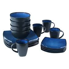 blue dinnerware sets. Interesting Blue Amazoncom Gibson Bella Soho 16Piece Square Reactive Glaze Dinnerware Set  Blue Kitchen U0026 Dining Intended Blue Sets R