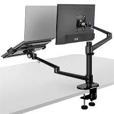 viozon Monitor and Laptop Mount, 2-in-1 Adjustable Dual Monitor Arm Desk  Mounts,Single Desk Arm Stand/Holder for 17 to 32 Inch LCD Computer Screens,  Extra Tray Fits 12 to 17 inch Laptops (Black) :