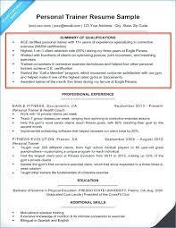 Resume Of Trainer Personal Trainer Cv Sample Training Resume Cover Letter Entry Level