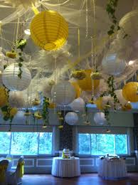 Ceiling decor - tulle, lighted paper lanterns and flowers, crystal garland  and fresh blooms
