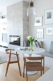 bench seat set into a corner for a breakfast table nook dining