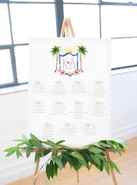 Wedding Seating Chart Poster Board Beach Wedding Crest Seating Chart