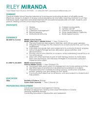 Middle School Teacher Resume Examples Examples Of Resumes Cv