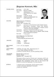 English Curriculum Vitae Cv Template English Resume Format
