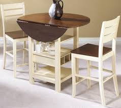 small round drop leaf dining table with storage underneath for small space excellent designs ideas