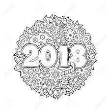 Scheda Di Congratulazione Del Nuovo Anno Con I Numeri 2018 Sulla Priorità Bassa Di Vacanza Invernale Mandala Di Natale Libro Da Colorare Antistress