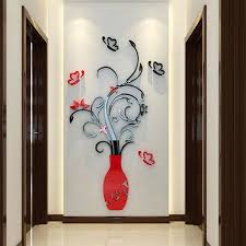 3d flower vase wall stickers mirror art mural home room office decor decal diy wall art is personalized newchic