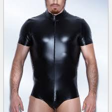 3xl men faux leather turtleneck zipper vinyl underwear suit pole black short sleeve