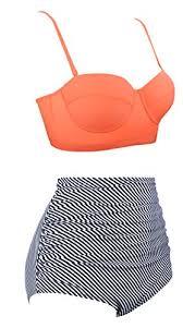 Angerella Women Vintage Orange Top Underwire High Waisted