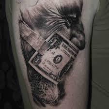 shoulder tattoo black and grey dollar