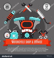 Engine Service Design Motorcycle Shop Service Design Concept Engine Stock Vector