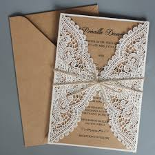 Design Paper For Invitations Us 115 0 Rustic Wedding Invitations Suite Kraft Paper Invitation Cards Lace Wedding Invite With Envelope Set Of 50 Pcs In Cards Invitations From