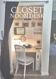 turn closet into office. Work Station On A Open Closet. Add Wallpaper As An Accent And Curtain To Hide It When Company Is Over.   Office Ideas Pinterest Closets, Turn Closet Into O