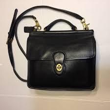 COACH vintage black leather Willis crossbody purse