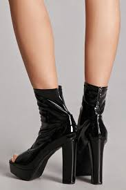 faux patent leather sock boots
