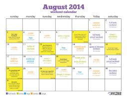 Gym Exercise Planner August Workout Calendar Simple Summer Fitness Plan