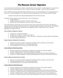 Career Change Objective Resume Samples Of Career Objectives On