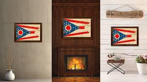 ohio state vintage flag canvas black print picture ohio stadium wall art brown frame home