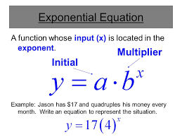a function whose input x is located in the exponent