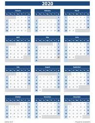 2020 Calendar Excel Templates Printable Pdfs Images