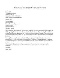 Cover Letter Community Services Community Worker Cover Letter