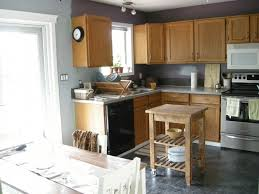 Intriguing Grey Walls in Kitchen with White Cabinet : Simple Kitchen Design  Natural Oak Cabinet Grey