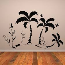 simple palm trees tropical flowers and trees wall stickers home decor art decals