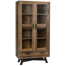 Farmhouse Rustic Reclaimed Wood Curio Cabinet with Doors | Zin Home
